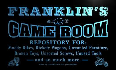 x0216-tm Franklins Garage Game Room Custom Personalized Name Neon Sign Wholesale Dropshipping On/Off Switch 7 Colors DHL