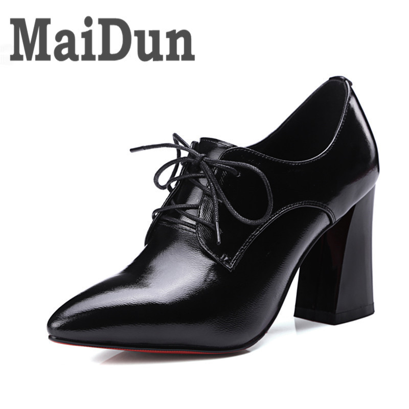Footwear Shoes Women Pumps 34-42 Genuine Leather Fashion Elegant Pointed Toe Lace-Up High Heels Woman Shoes Black Peach Color