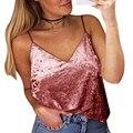 2017 Primavera Verano Mujeres Sexy Crop Top de Raso Halter de Terciopelo Tanque Tops Mujeres Cuello En V Profundo Playa Chaleco Flojo Camisa Corta Cami tanque