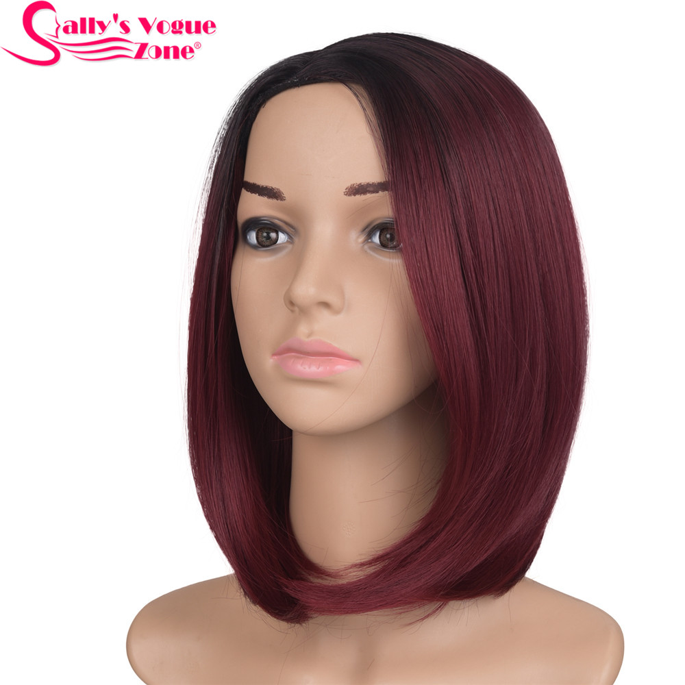 Sallyhair Middle Part 12inch High Temperature Fiber Synthetic Short Ombre Black Wine Red Color Straight Bob Wig For Women