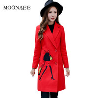 Winter Women's Double Face Woolen Coat Embroidery Fashion Elegant Female Long Trench Coat Outerwear QY13082622