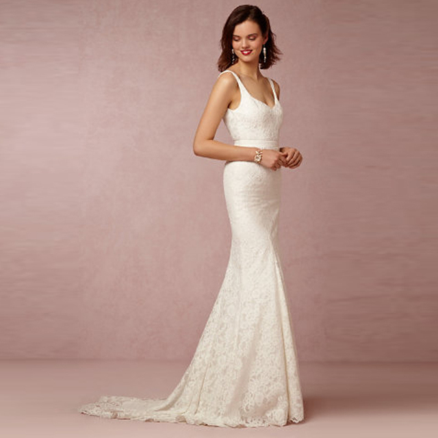 Vestido Renda Longo Concise And Easy Long Lace Bride Wedding Dresses Mermiad Gown Vestidos De Novia