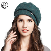 Autumn Winter Women Beret Hats Fashion Warm Wool Beanies French Artist Rhinestone Crown Octagonal Cap