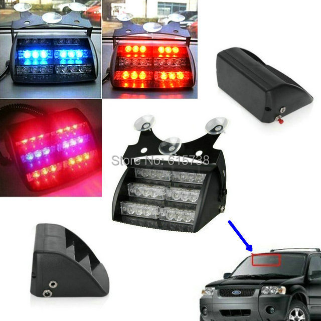 18 LED Flashing strobe lamps bulbs red blue car vehicle auto truck warning Light emergency light for mazda 6