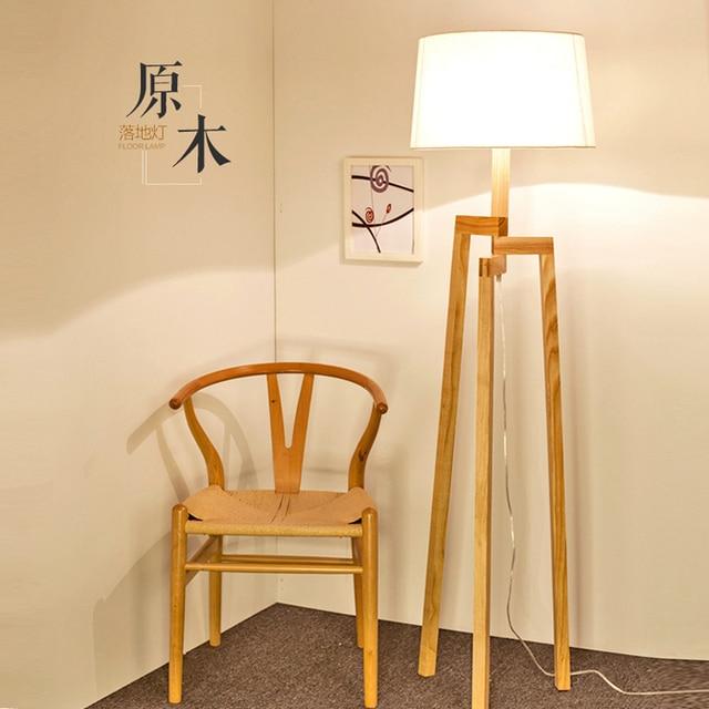 Nordic Lampu Lantai Kayu Ruang Tamu R Tidur Minimalis Modern Amerika Led Kreatif Meja