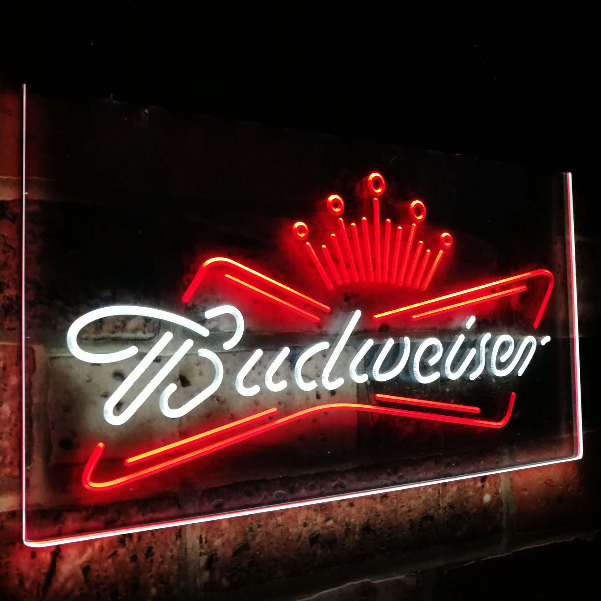 Budweiser roi bière Bar décoration cadeau double couleur Led néon enseigne st6-a2005