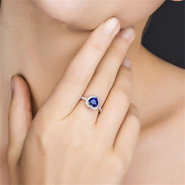 Fine Jewelry Anelli Zaffiro Per Le Donne Reale S925 Sterling Silver a Forma di Cuore Da Sposa Cerimonia Nuziale di Aggancio Anello di Alta Qualità