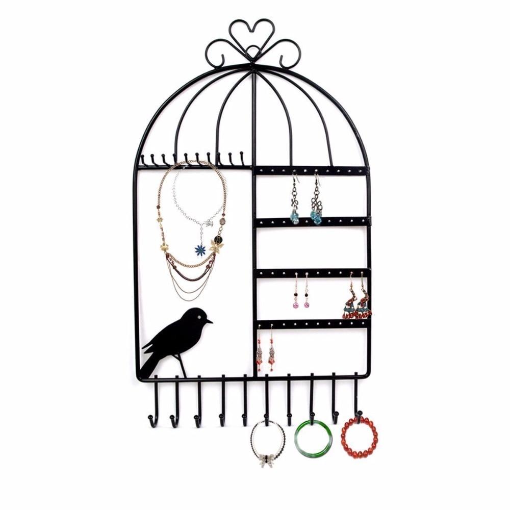 Birdcage Design Jewelry Organizer Earing Holder Rings Necklace Hanger Display Rack Hangers Black Alloy Wall Mount Jewelry Rack