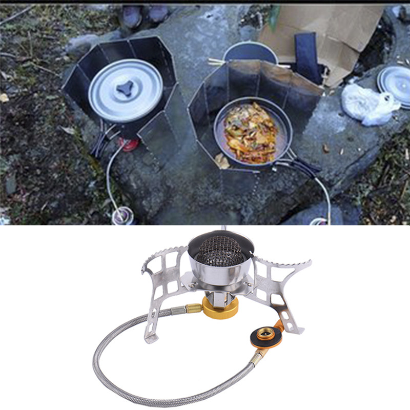 Mini Camping Stove Windproof Gas Stove Foldable Camping Steel Portable Outdoor Picnic Gas Burner Portable Folding gas burner bulin bl100 b5 outdoor camping foldable split gas stove