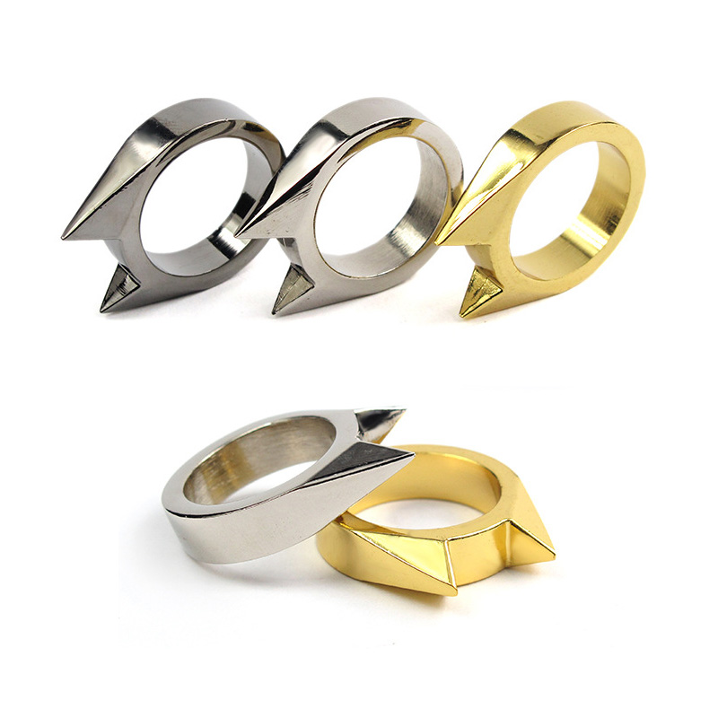 Outdoor Defend Ring For Women Protect Broke Car Window Finger Rings Self-defense Weapon Fist Supplies Hidden Escape Tool