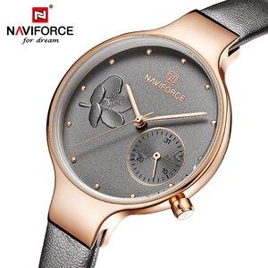 Image 1 - NAVIFORCE Frauen Uhren Top Luxus Marke Damen Quarz Uhren Echtem Leder Armband Beiläufige Handgelenk Uhren Geschenk Für Mädchen