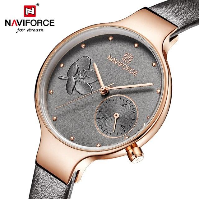 NAVIFORCE Frauen Uhren Top Luxus Marke Damen Quarz Uhren Echtem Leder Armband Beiläufige Handgelenk Uhren Geschenk Für Mädchen