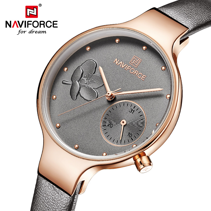 NAVIFORCE Women Watches Top Luxury Brand Ladies Quartz Watches Genuine Leather Watchband Casual Wrist Watches Gift For Girls