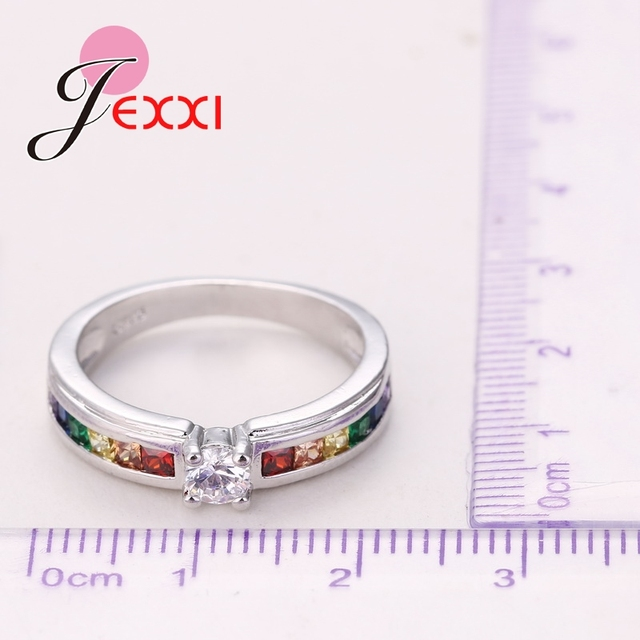 Fashion 925 Sterling Silver Hot Sale Rainbow Engagement Promise Rings For Women High Quality Austrian Rhinestone Jewelry 4