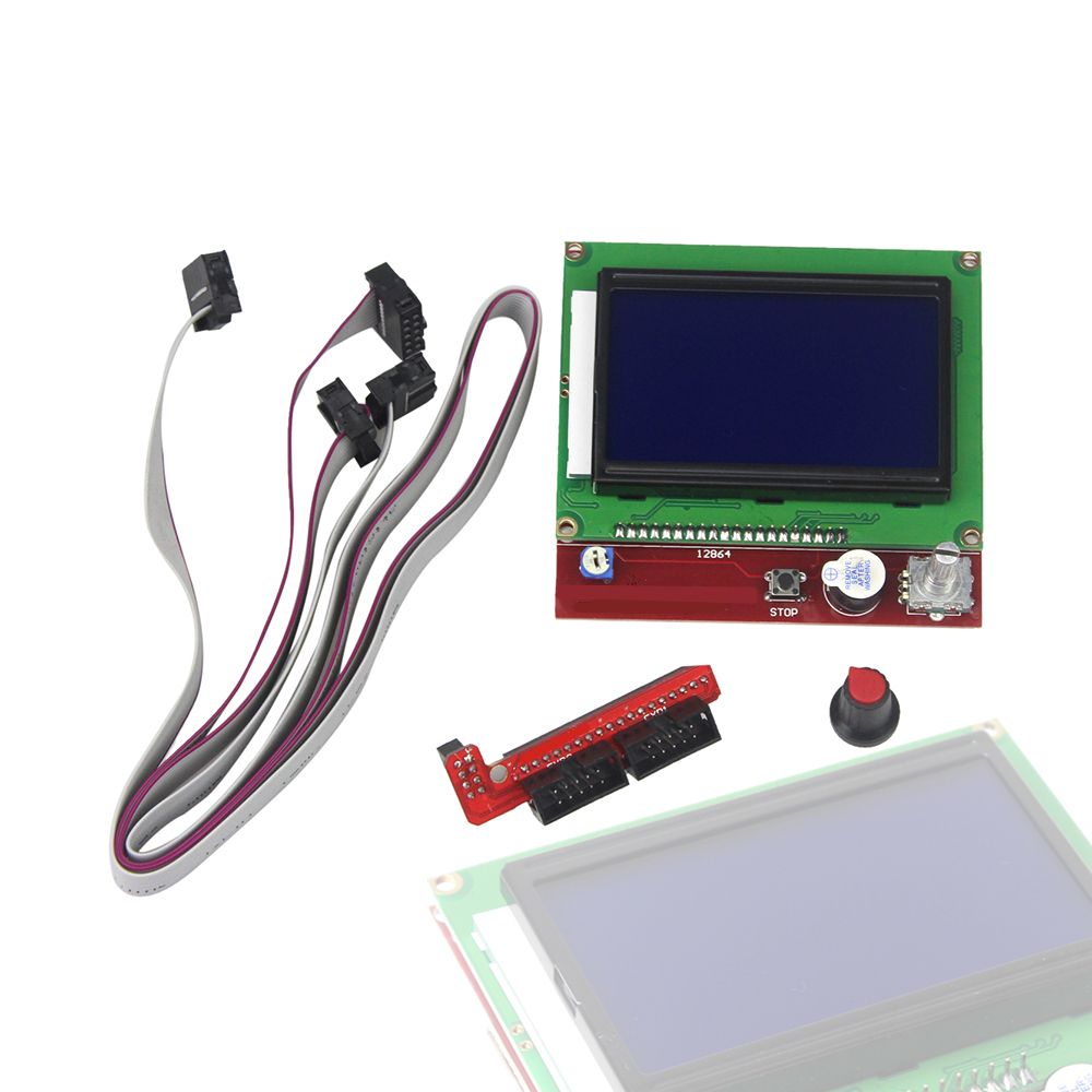 12864 LCD Graphic Smart Display Controller Board with Adapter and Cable for arduino 3D Printer RAMPS 1.4 RepRap ...