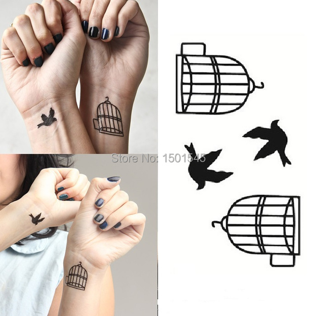 free shipping birdcage bird symbol of freedom temporary tattoo 4pcs in 1 set nicetattoos tiny. Black Bedroom Furniture Sets. Home Design Ideas