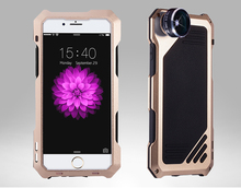 Luxury powerful Anti-knock Metal Aluminum mobile phone cases For iphone 6 SE 5 5S 6S Plus with Fisheye,wide Angle,Tempered glass