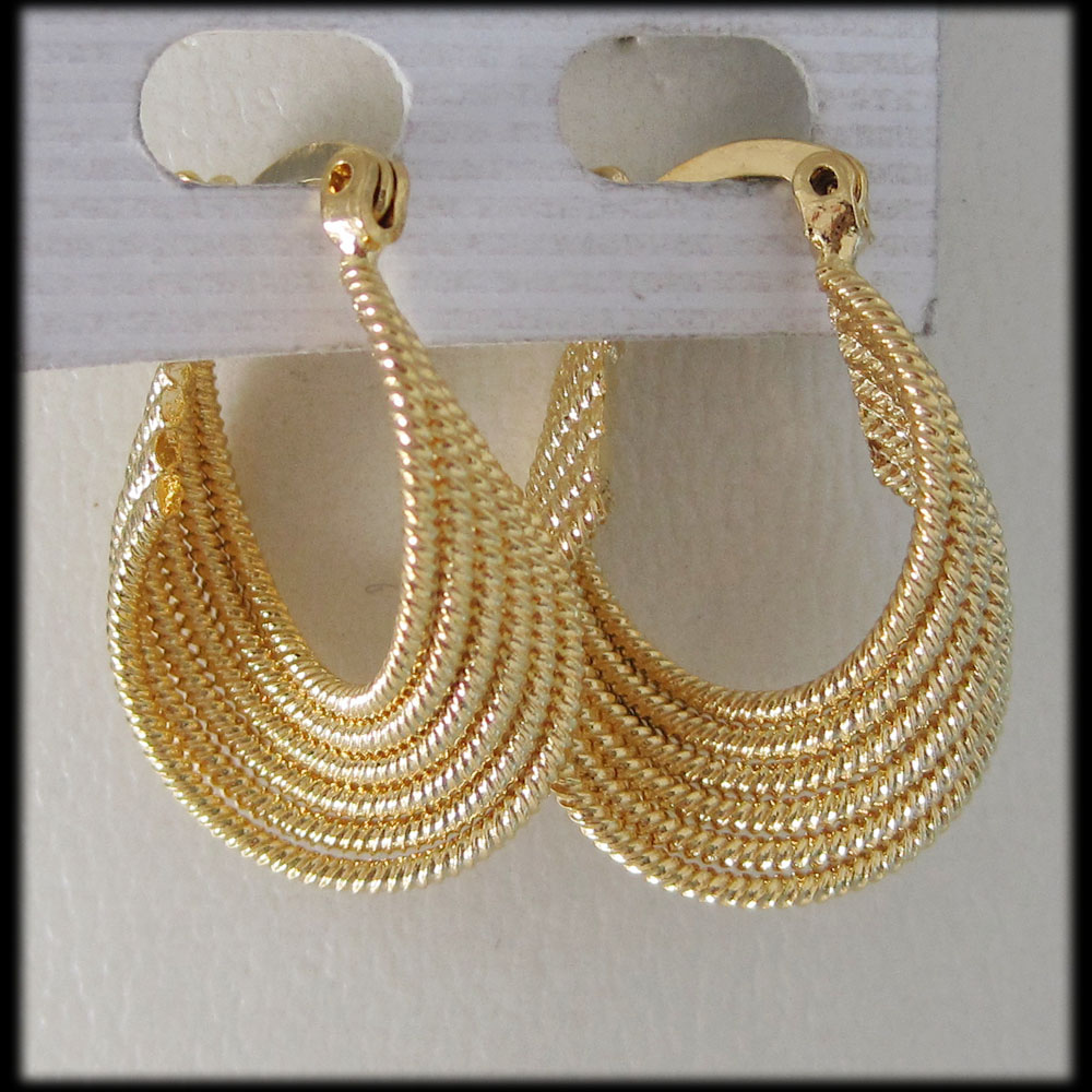 ORDER 10$ SHIP WITH TRACKING CODE/TWIST ROPE SHAPE YELLOW GOLD GP FILLED BRASS OVAL HOOP TALL 0.98