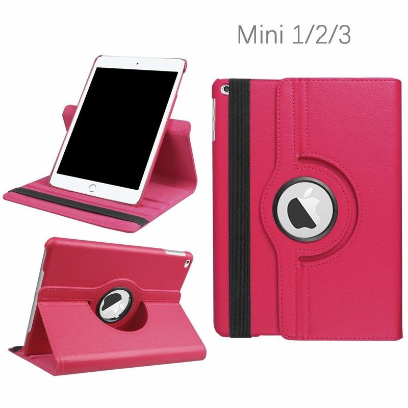 For iPad Mini Case 360 Degrees Rotating Flip PU Leather Case Cover For iPad Mini 2 3 Stand Cases Smart Tablet Cover Sleep Wake protective abs silicone bumper case for ipad mini retina ipad mini purple transparent