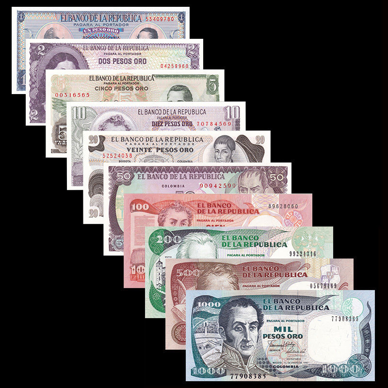 Colombia Set 10 PCS, 1 2 5 10 20 50 100 200 500 1000 Pesos, UNC, Banknotes, Collection, Gift, Asian Genuine, Original
