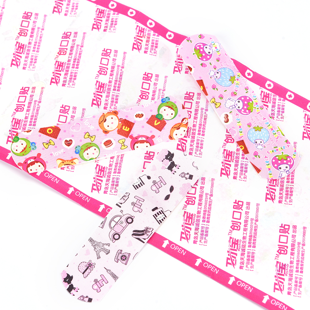 50PCs Band Aid Waterproof Breathable Cartoon First Aid Adhesive Bandages Plasters Child Adults Kids Wound Stickers