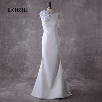 LORIE Wedding Dress Mermaid Trumpet Appliqued with Flowers Lace White Ivory zipper with Buttons O-Neck Bride Dress Wedding Gown