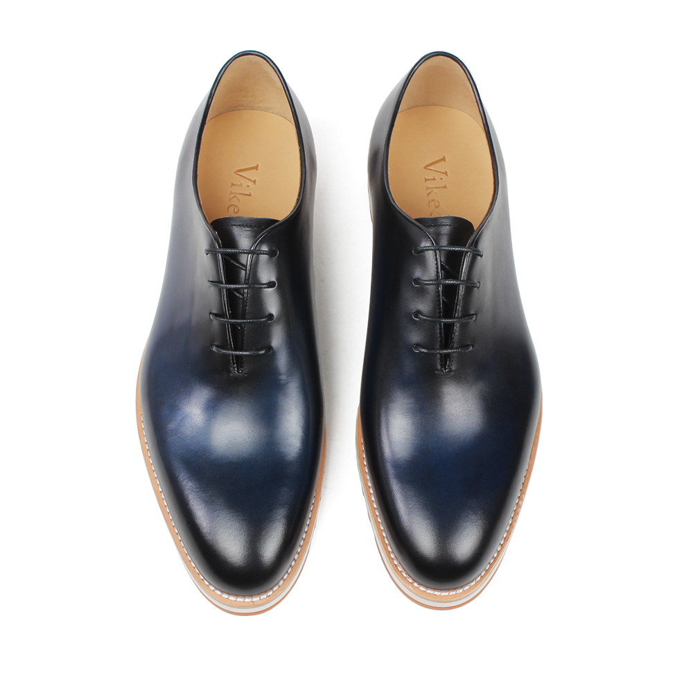Vikeduo 2019 Handmade Retro Shoes Party Wedding Male Blue Calf Genuine Leather New Italy Design Men Leather Sapatos Dress Shoes