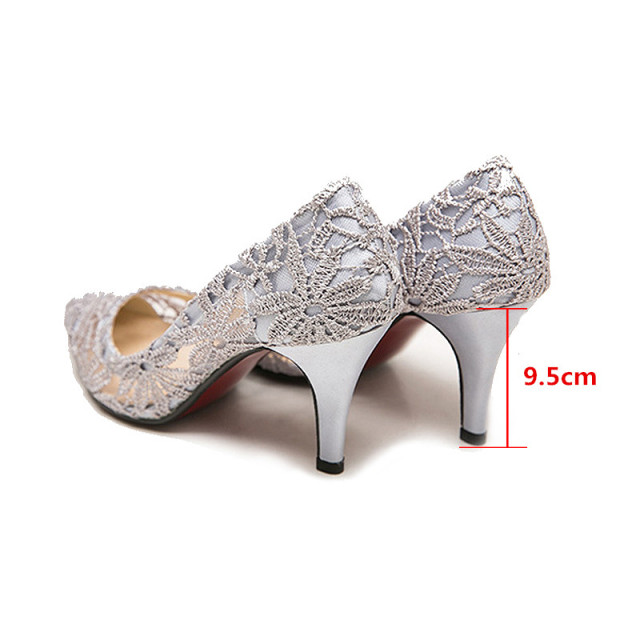 Shoes Women High Heel Sandals 2016 New Fashion Wedding Dress Shoes Sexy Pointed Toe Shoes Cut Out Lace Pumps Woman Summer Party