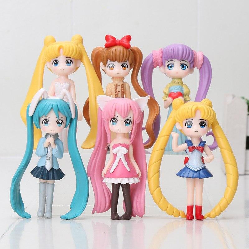 5Pcs//Set Sailor Moon Figure Tsukino Usagi Sailor Jupiter PVC Figure Model Set