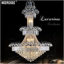 Silver Crystal Chandelier Lighting Large Hotel Light Fixture Gold Or Lustre Hanging For Restaurant Lobby Staircase