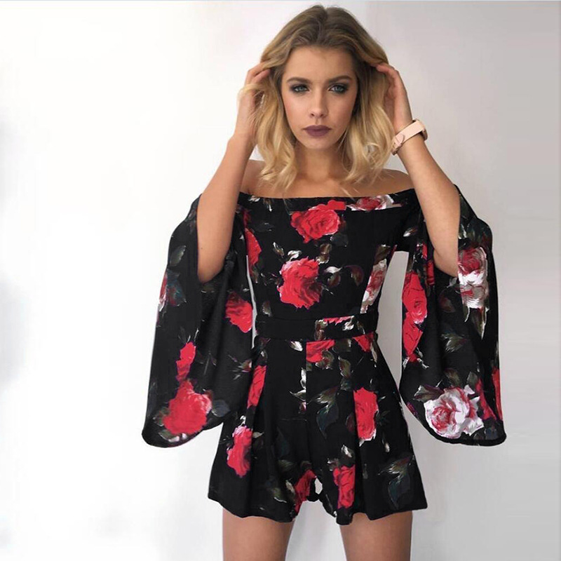 2018 Fashion New Arrivals Summer Off Shoulder Long Sleeve Floral Print Sexy Playsuits Boho Romper For Womens Summer Beach Wear