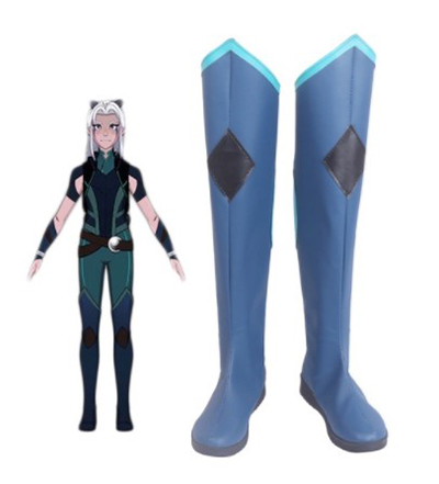 Anime The Dragon Prince Rayla Long Blue Cosplay Shoes Boots Cosplay Costume Accessories For Women Shoes Custom Made Halloween