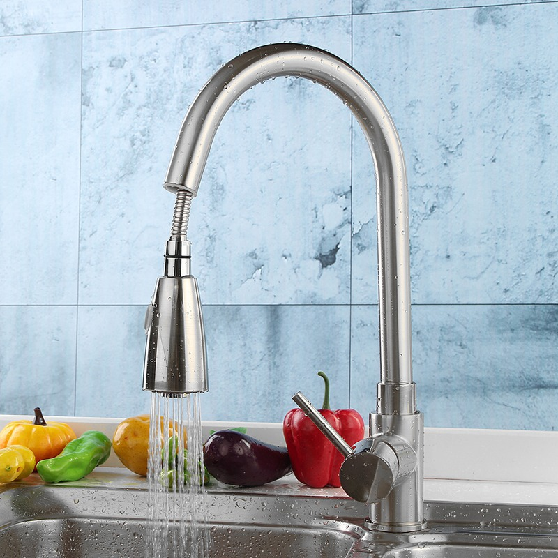Bathroom Pull Down Out Basin Sink Faucet Mixing Tap Ordinary Copper Brass Kitchen Water Taps Faucet Single Handle Hot kitchen chrome plated brass faucet single handle pull out pull down sink mixer hot and cold tap modern design
