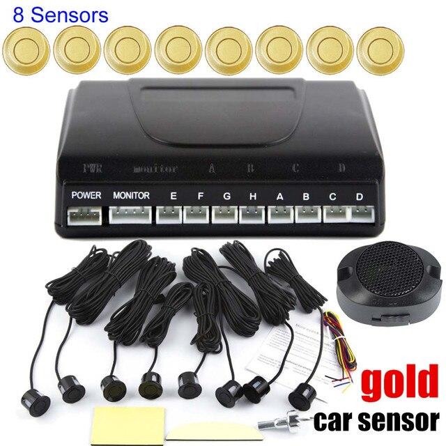 no LED Display 8 Sensors Kit Reversing Radar System Parking Radar Buzzer System car Parking Sensors 9 colors to choose