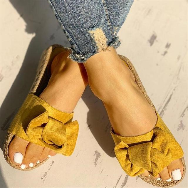 Hausschuhe Frauen Sommer Bogen Sommer Sandalen Slipper Indoor Outdoor Leinen Flip-Flops Strand Schuhe Weibliche Mode Blumen Schuhe