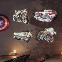 Industrial Retro Motorcycle LED Sign Vintage Metal Light Plaques Creating Wall 3D Modeling Wall Hanging Shop Bar Wall Decoration