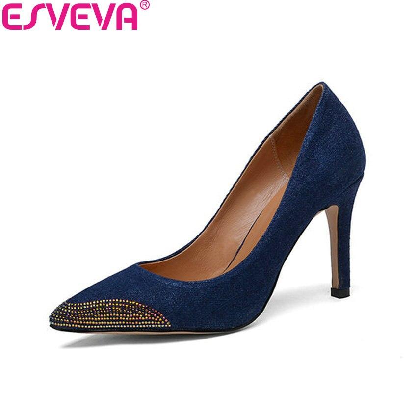 ESVEVA 2018 Women Pumps Decoration Crystal Shoes Denim Slip on Thin High Heels Sexy Pointed Toe Shoes for Women Size 34-39 стоимость