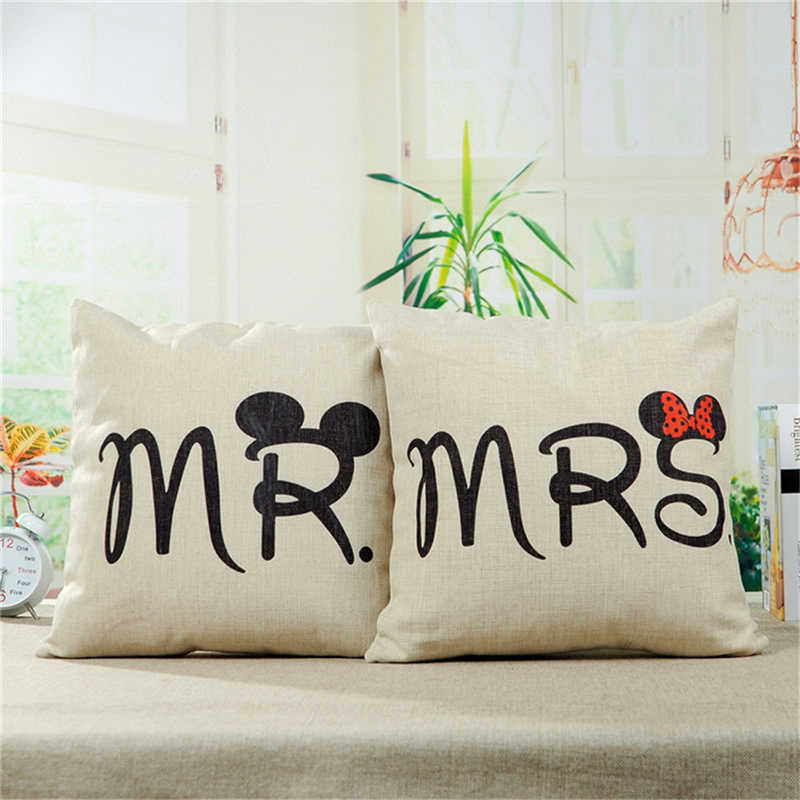 クッションカバーコットンリネン枕ケースソファソファ車 Ded 投げる家の装飾夫妻マウス枕ケース椅子カバー