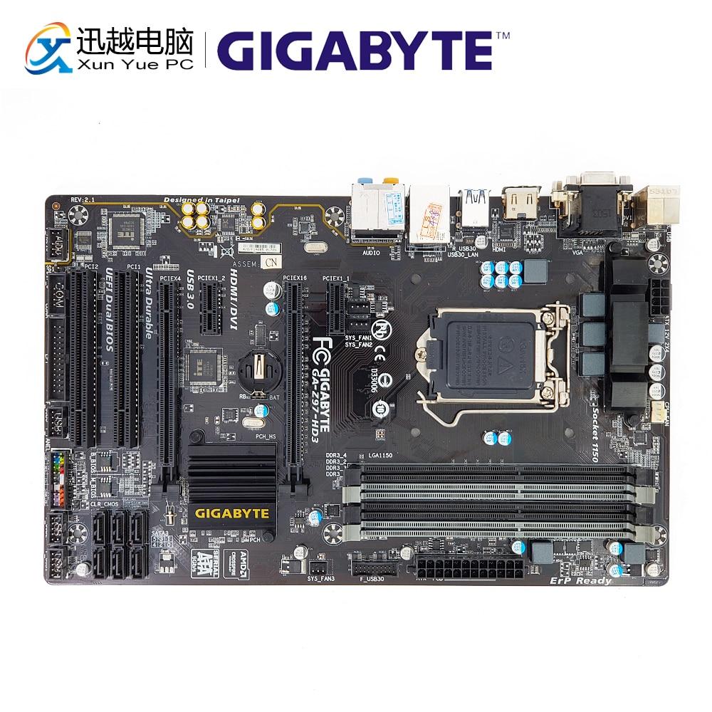 Gigabyte GA-Z97-HD3 Desktop Motherboard Z97-HD3 Z97 LGA 1150 i3 i5 i7 DDR3 32G SATA3 USB3.0 ATX материнская плата пк gigabyte ga h270 hd3 ga h270 hd3