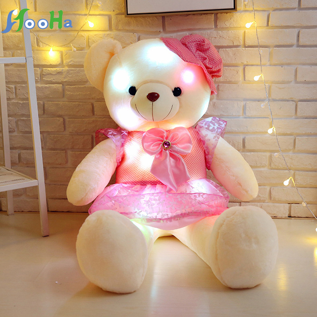 50cm Luminous Teddy Bear Valentine's Day Creative Light pillow Stuffed Animal Plush Toy Colorful Glowing Christmas Gift for girl