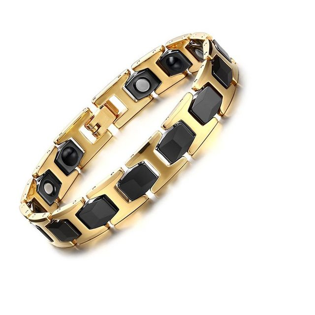 New Mens Gold Black Plated Powerful Bracelet with Magnets Punk Healthy Link Wrist Bracelet of Ceramic SBRM-091 free gift box