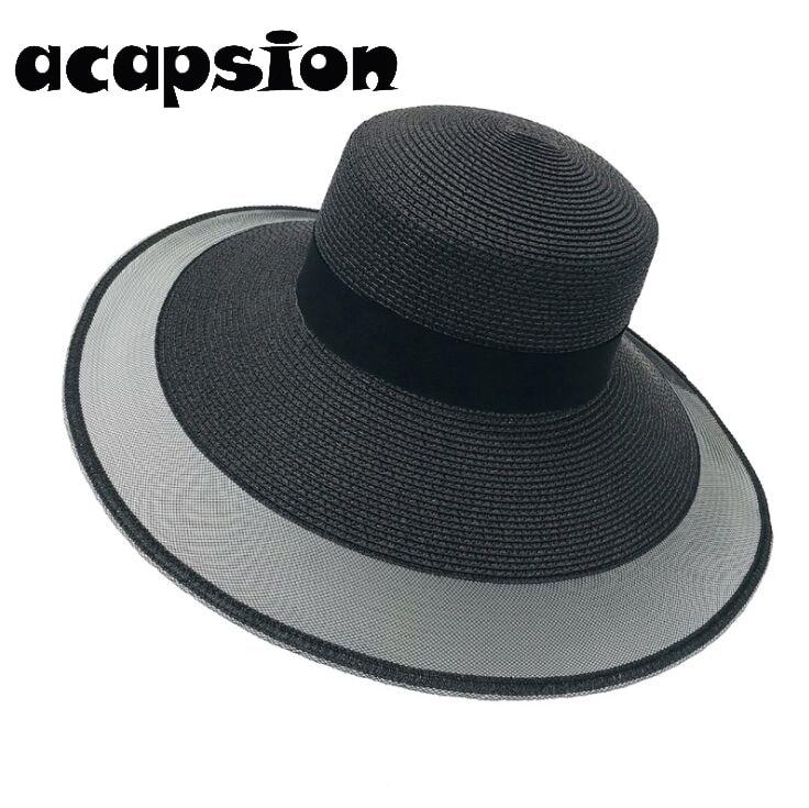 Fashion Straw Hat For Women Summer Casual Wide Brim Sun Cap Bow knot Ladies Beach Hats Big Visor Floppy Sun Hat Chapeau A114