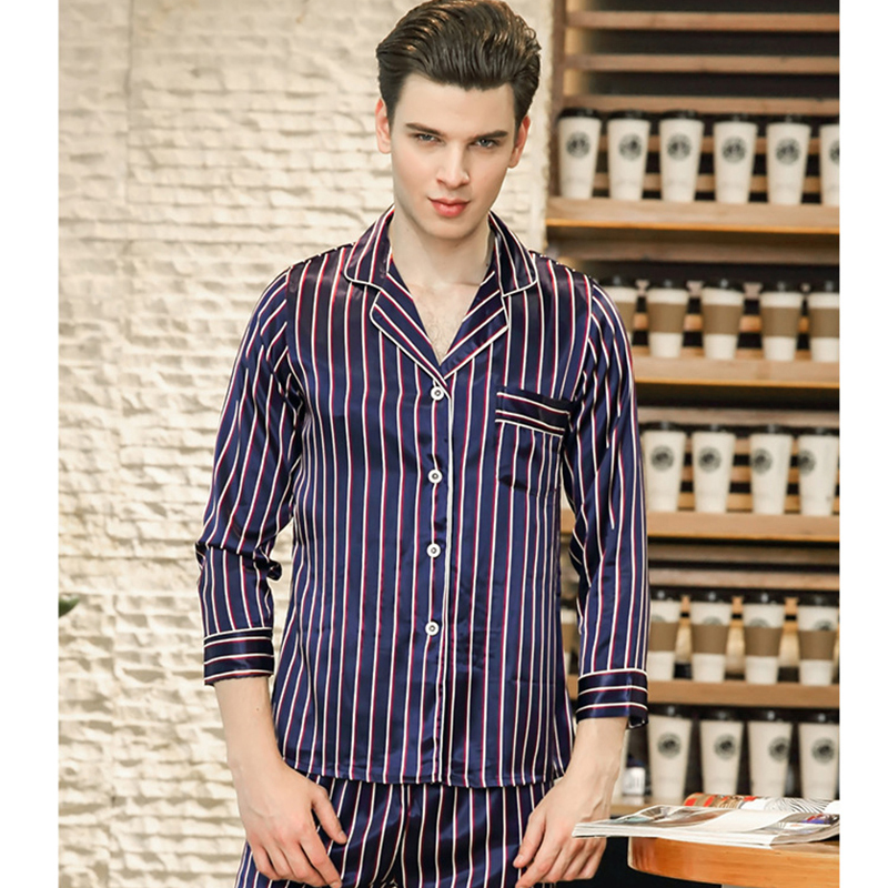 2018 New Male Sleepwear Pajamas Set Silk Itimation Satin Long Sleeve Men Home Suit Blue And Red Striped Soft Home Clothing City