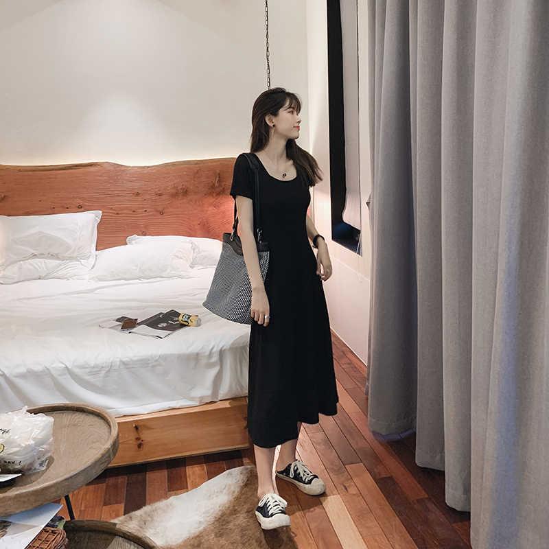 Mishow قصيرة الأكمام تي شيرت تنورة الصيف فوق الركبة اللباس الصيف الأسود السببية اللباس MX19B1212