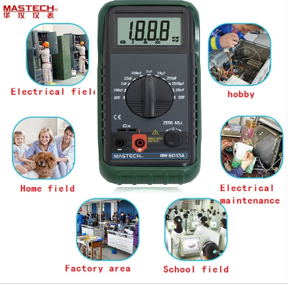 MASTECH MS6013A (MY6013A) Capacitor Tester Tecrep Portable Digital Capacitance Meter 200pF-20mF Electrical Test Diagnostic-tool цена