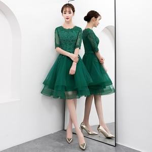 Image 2 - אלגנטי ירוק קצר טול שמלה לנשף עם חצי שרוול סקסי תחרה Applique באורך הברך פורמליות שמלת ערב המפלגה שמלה בתוספת גודל