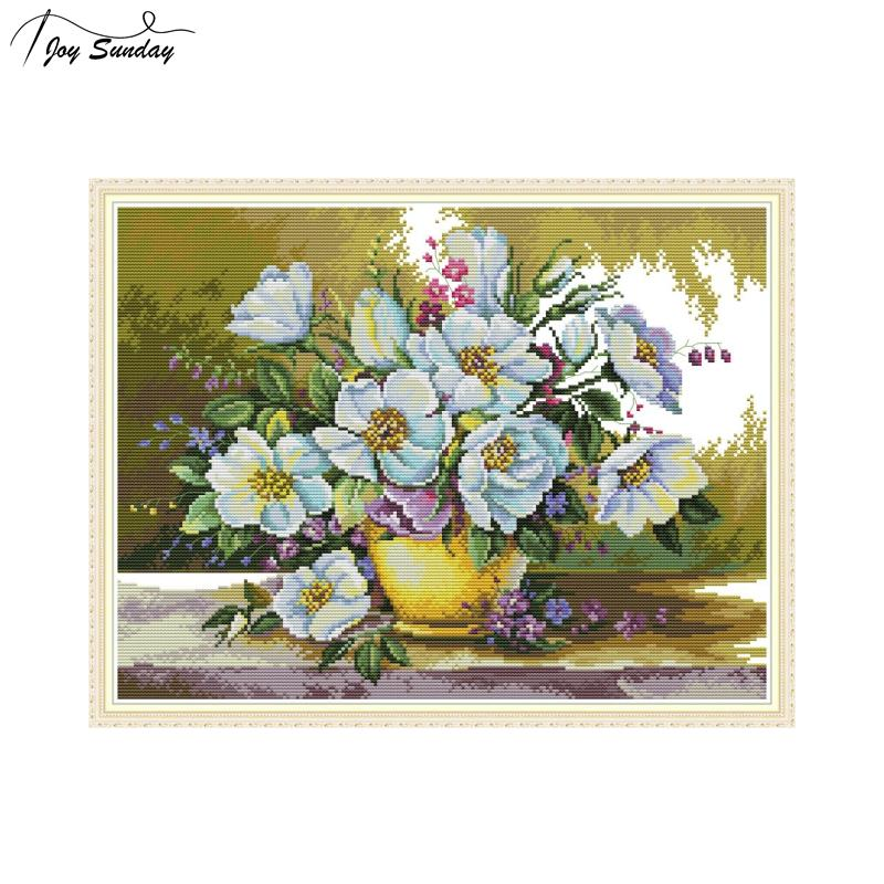 Joy Sunday Cross Stitch Flowers White Flower Patterns DMC 14CT Aida Printed Canvas Embroidery Kits DIY Needlework Set Home Decor in Package from Home Garden