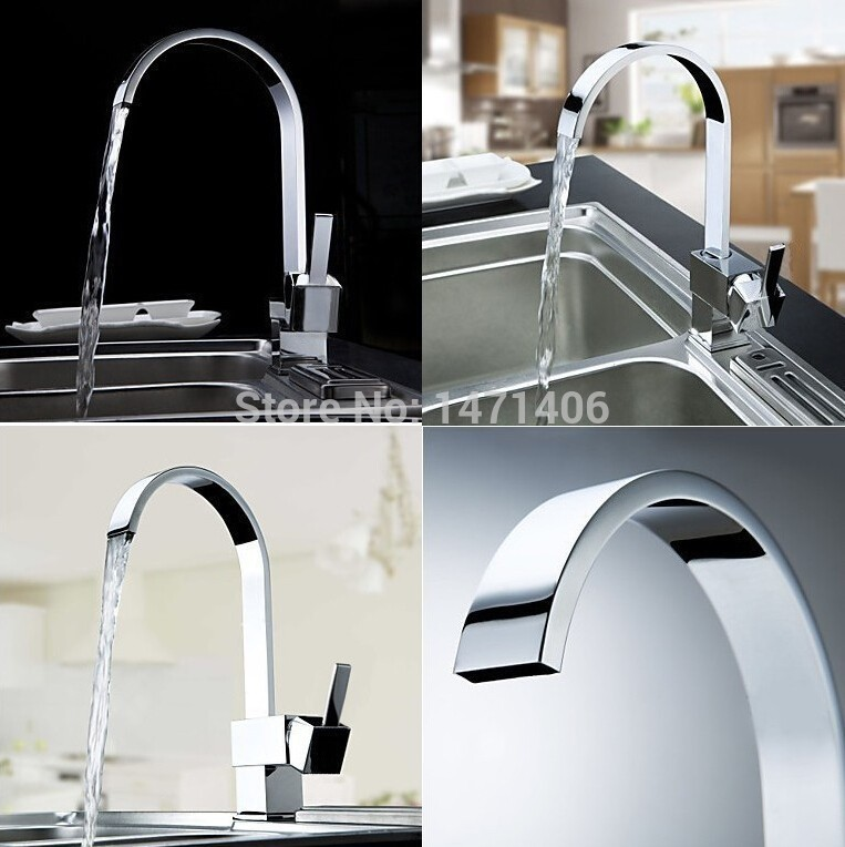 Kitchen Sink Faucets Rotatable Spout Ceramic Chrome Polished Deck Mounted Wash Mixers CF012Kitchen Sink Faucets Rotatable Spout Ceramic Chrome Polished Deck Mounted Wash Mixers CF012