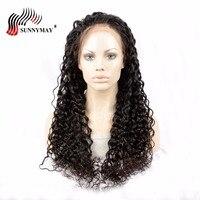 Sunnymay свободные волнистые человеческие парики для черных женщин бразильские девственные волосы передние парики на кружеве с детскими волос