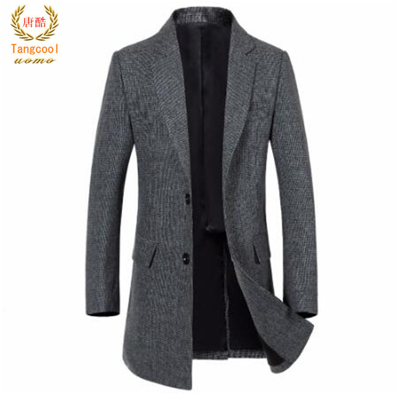 Tang cool 2018 autumn and winter new mens business casual V collar coat simple fashion small pattern Trench coat